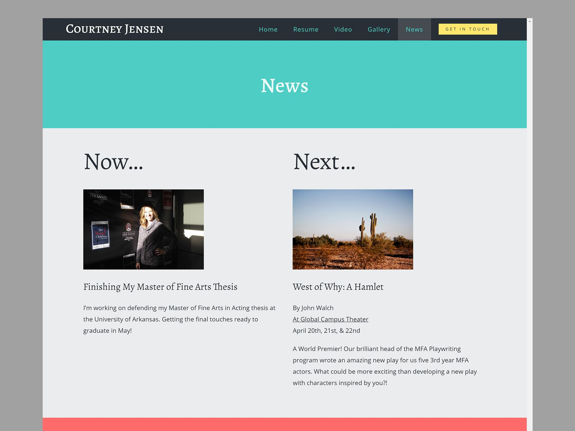 Courtney Jensen Website News