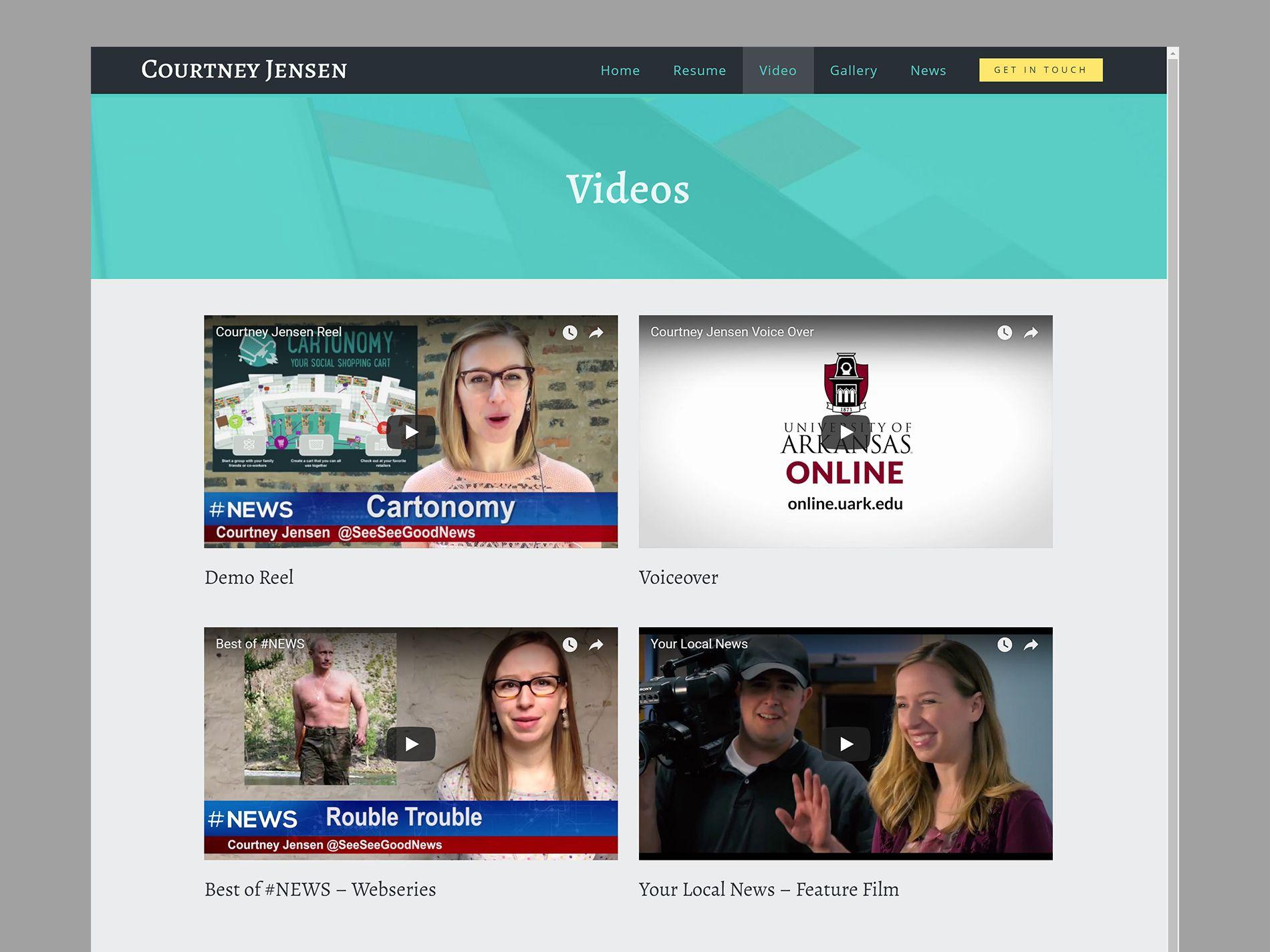 Courtney Jensen Website Videos