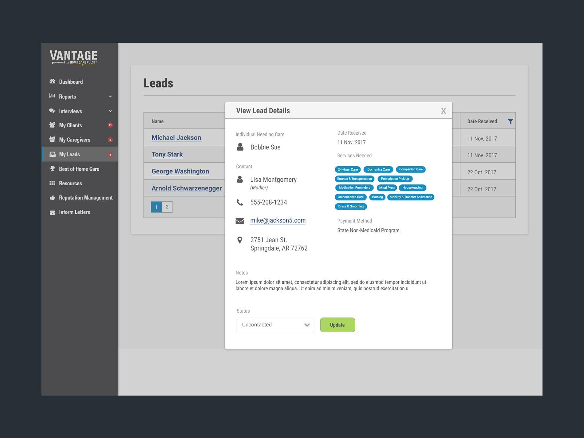 Lead Inbox UI